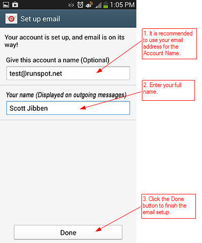 RunMail Android 4.x Setup - Step 7